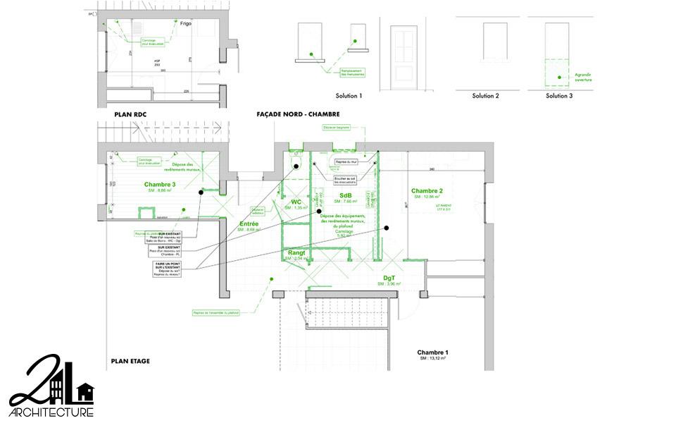Aménagement Intérieur par 2L Architecture - plan de démolition