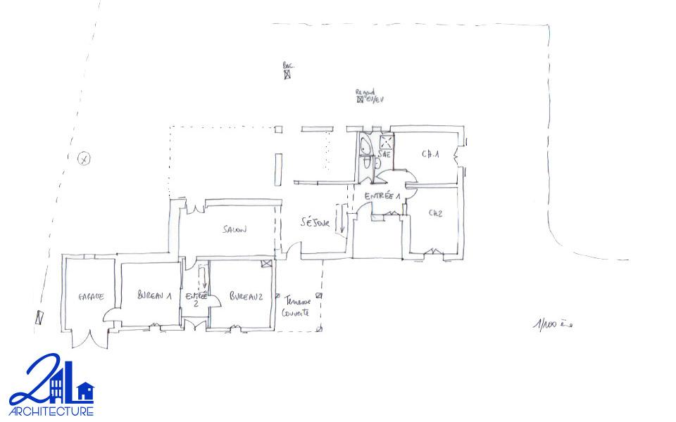 Extension des espaces de vie par 2L Architecture : plan de l'existant