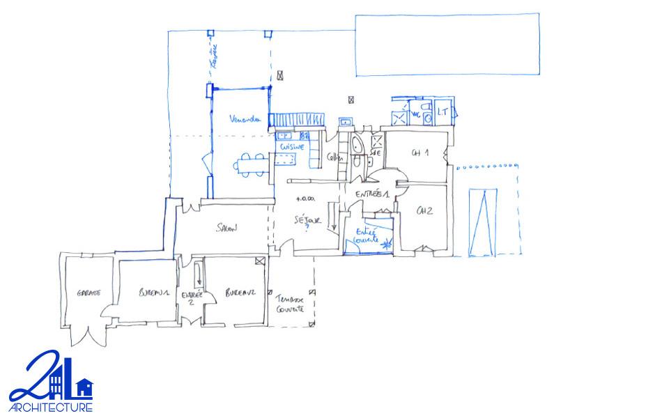 Extension des espaces de vie par 2L Architecture : esquisse