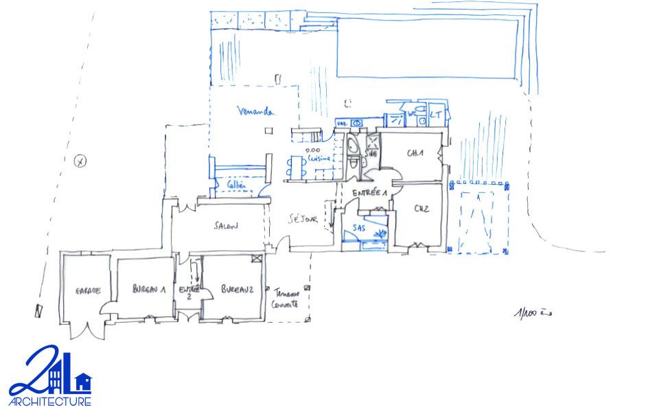Extension des espaces de vie par 2L Architecture - plan du projet