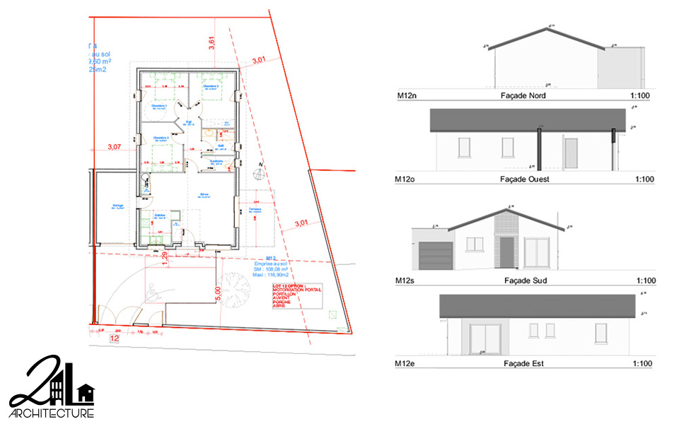 Groupement d'habitations, plan : Construction de 12 villas par 2L