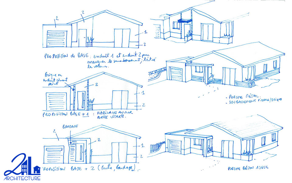 Groupement d'habitations, esquisse du principe : Construction de 12 villas par 2L Architecture
