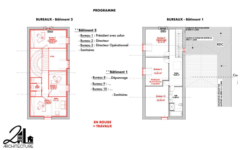 Réhabilitation d'un château par 2L Architecture : plan des travaux à l'étage