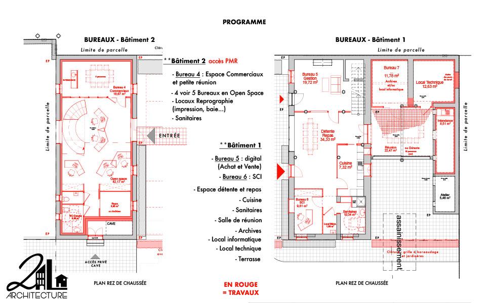 Réhabilitation d'un château par 2L Architecture : plan des travaux au rez-de-chaussée