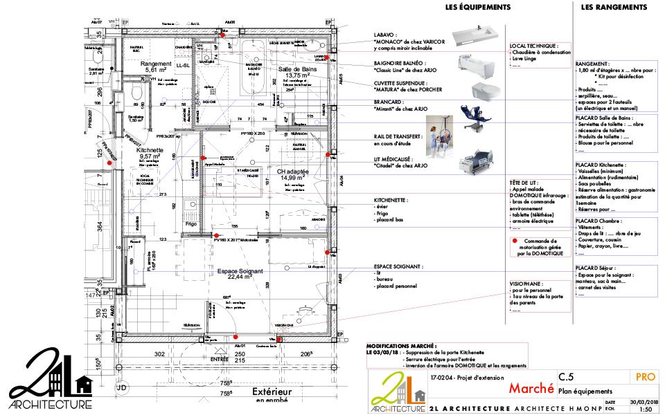 Extension d'un espace de soin pour PMR par 2L Architecture