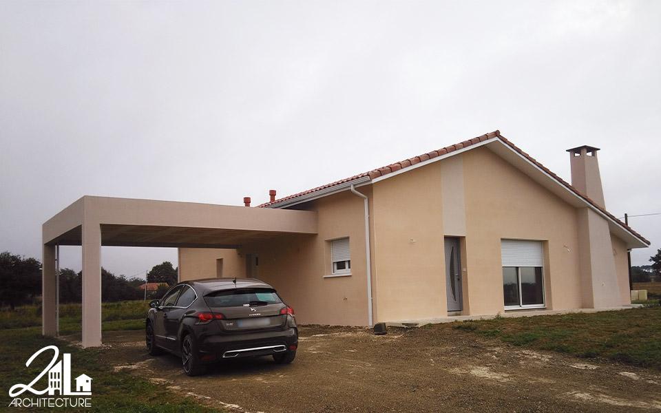 Construction d'une maison individuelle et d'un hangar agricole par 2L Architecture