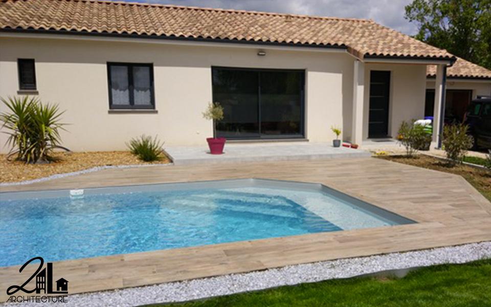 Aménagement d'une piscine et terrasse