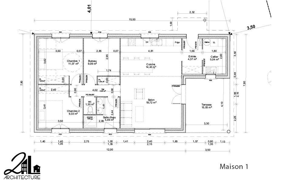Plans pour la construction de 2 maisons individuelles