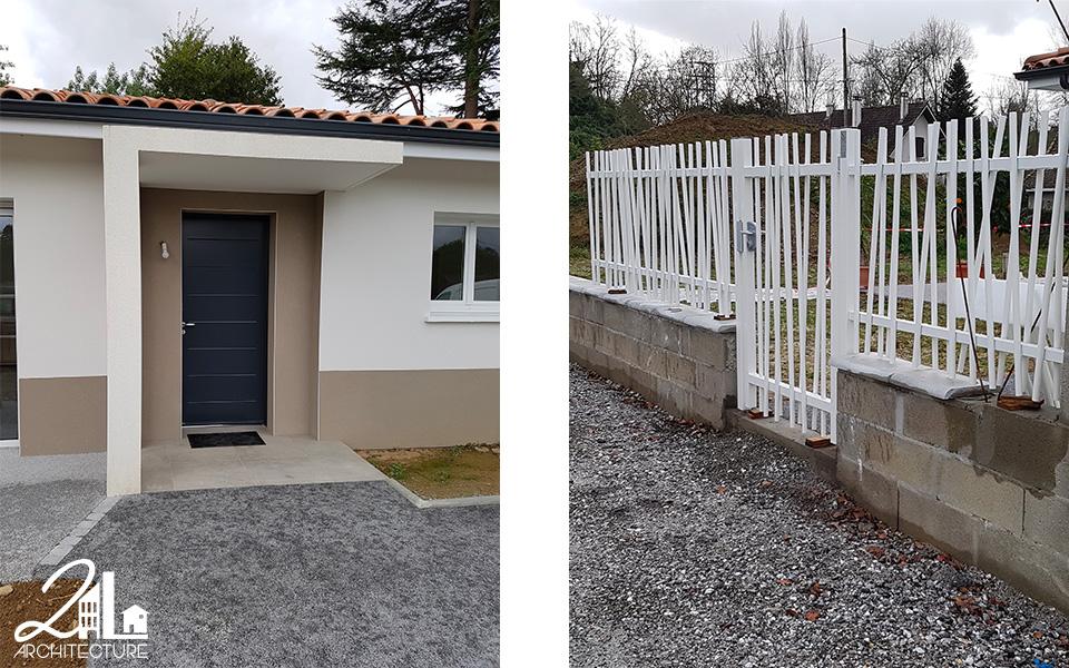 Groupement d'habitations par 2L Architecture : détail de porche, clôture et portillon
