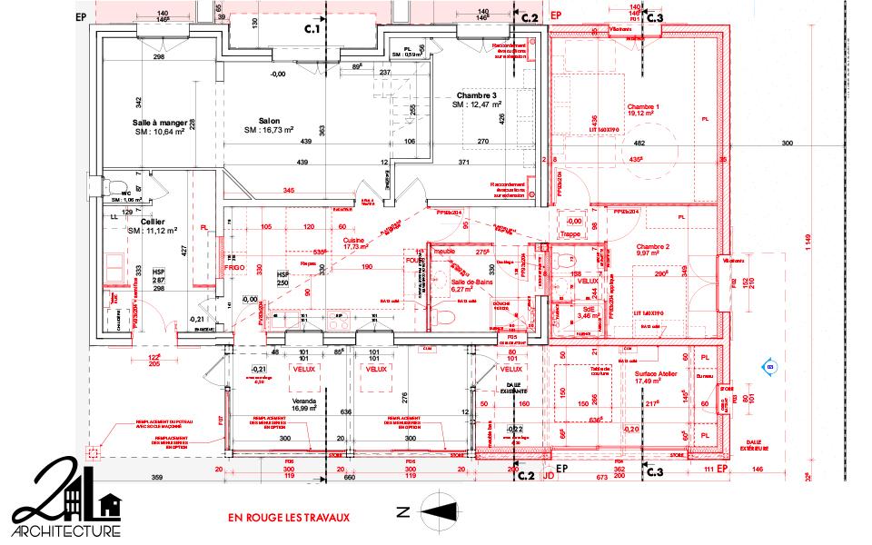 Extension de maison : atelier et véranda, plan des travaux