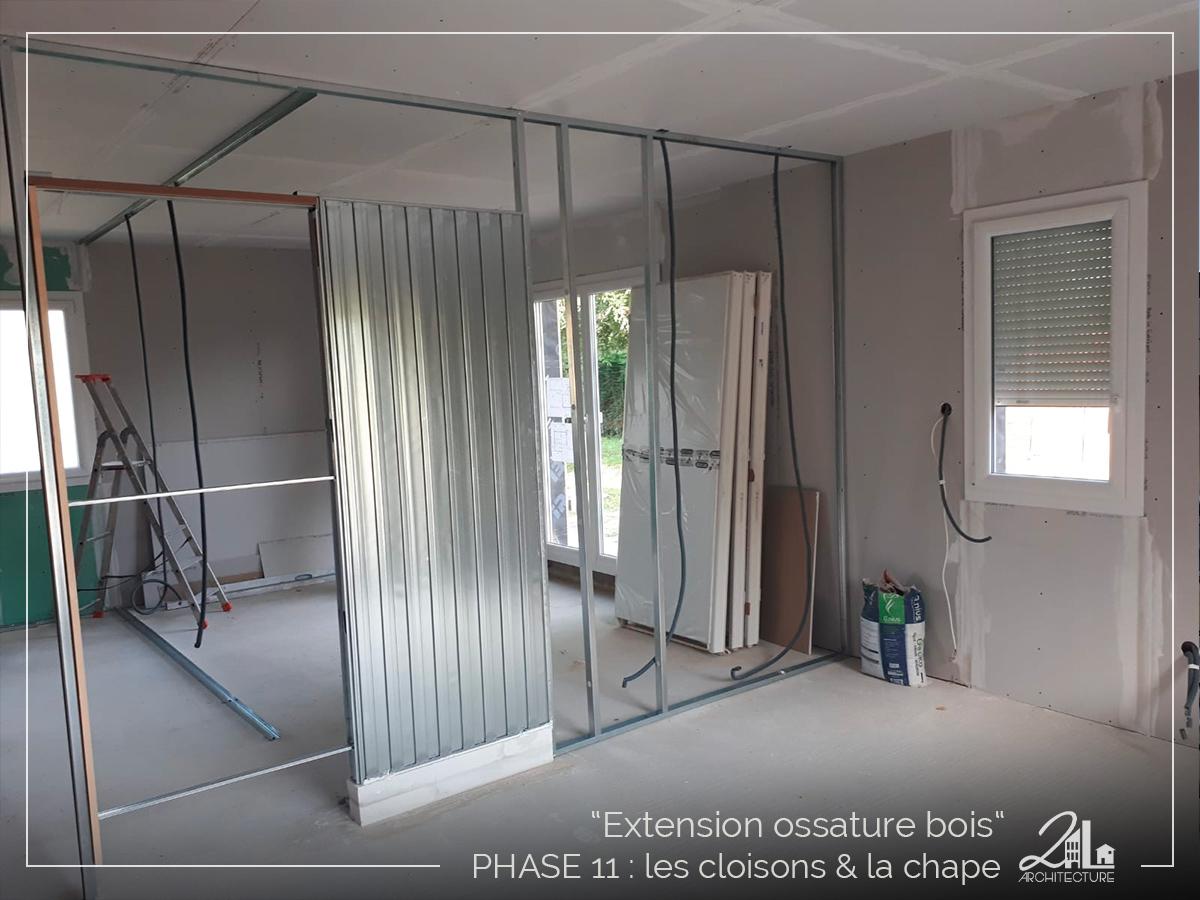 Suivez le chantier de la construction d'une extension en ossature bois. Phase 11, les cloisons et la chape