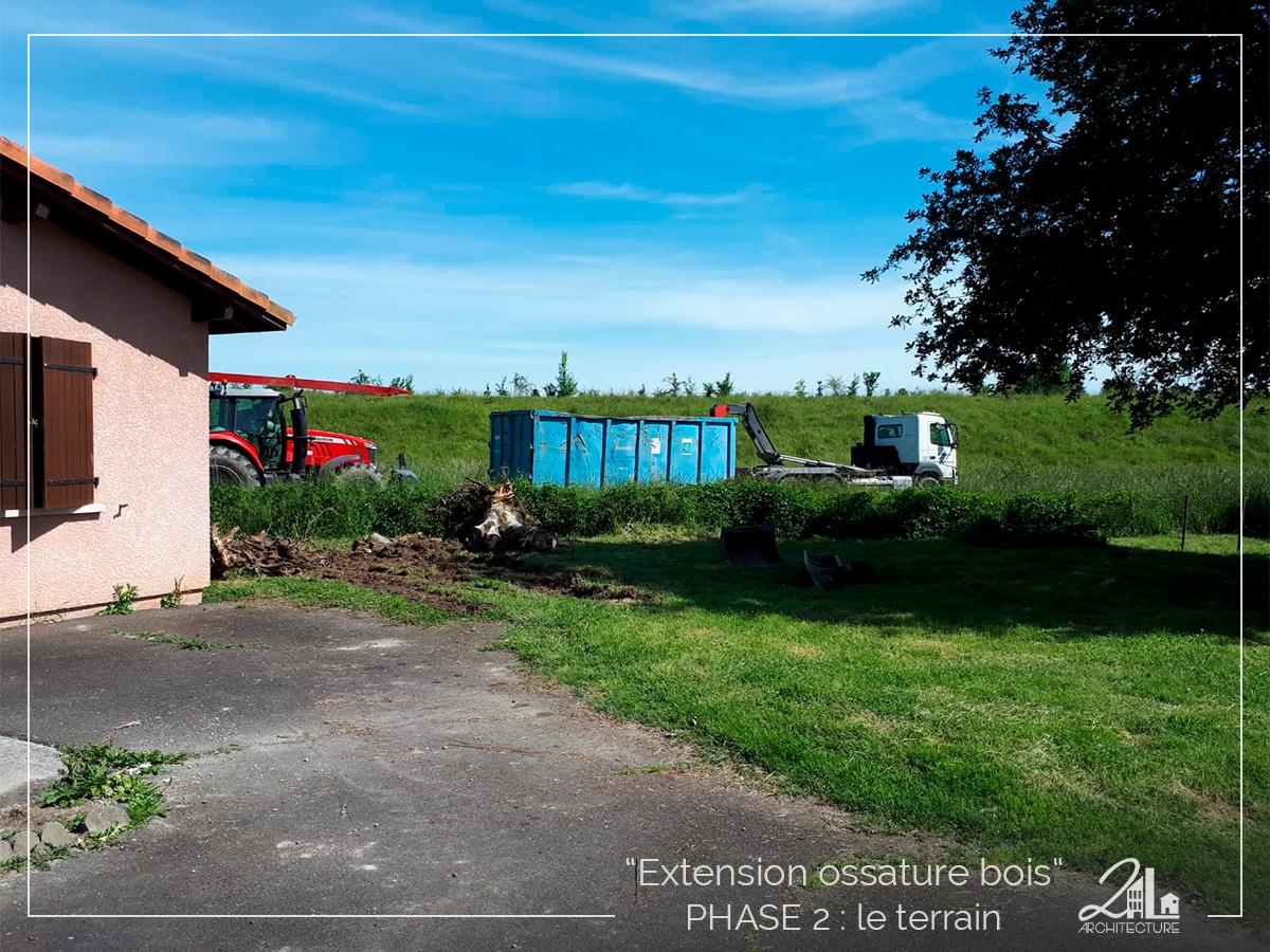 Suivez le chantier de la construction d'une extension en ossature bois. Phase 2, la préparation du terrain