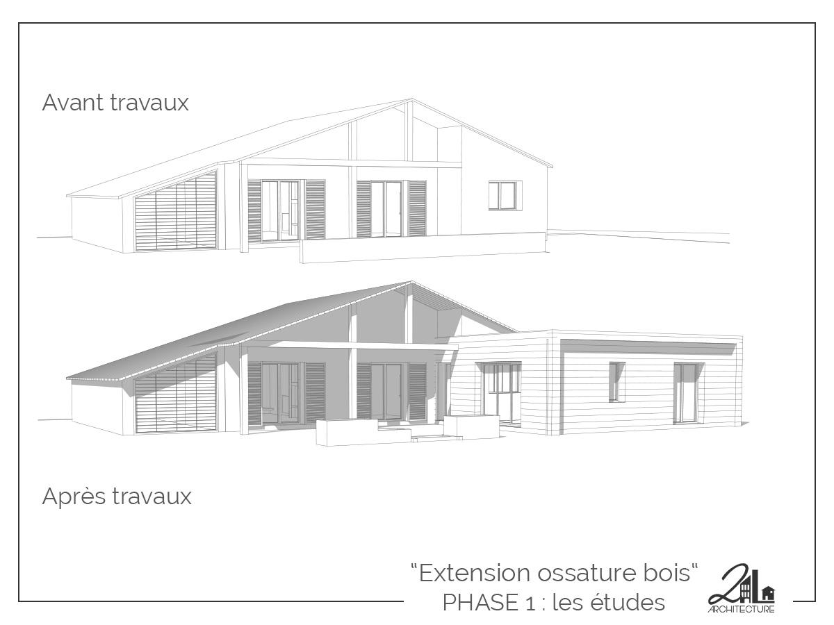 Suivez le chantier de la construction d'une extension en ossature bois. Phase 1, les études, les plans